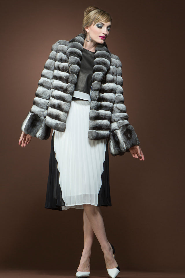 Horizontal Chinchilla Fur Jacket - Vertical Cuffs - Shawl Collar