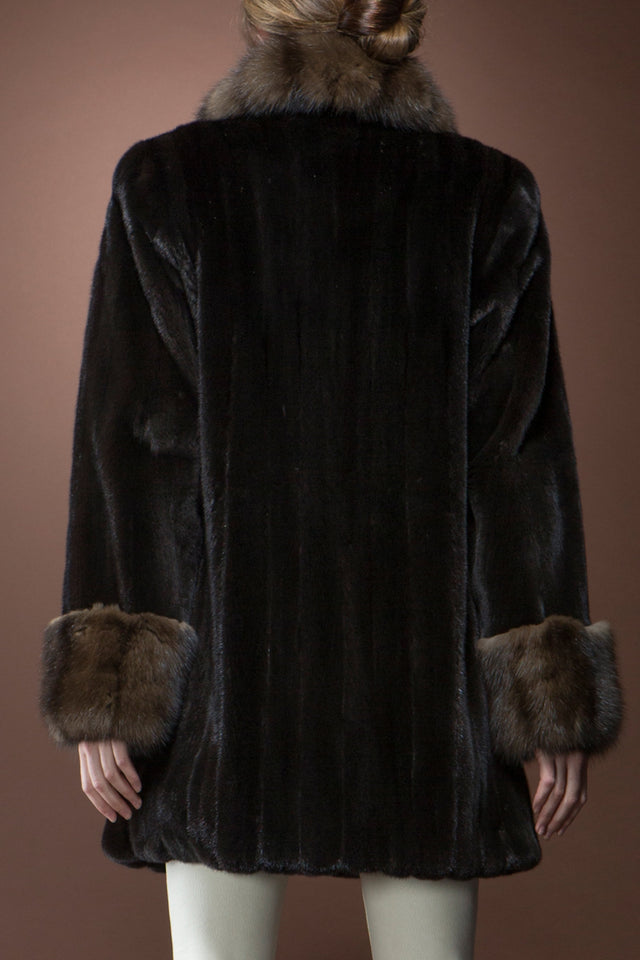 Ranch Mink and Sable Mid-Length Fur Coat