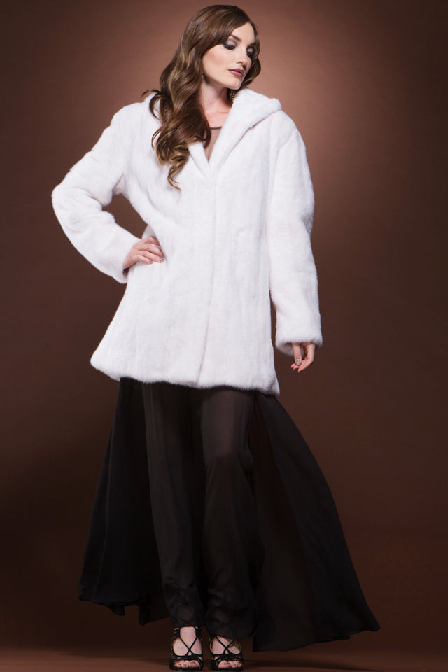 Hooded Off White Mid-Length Mink Fur Coat