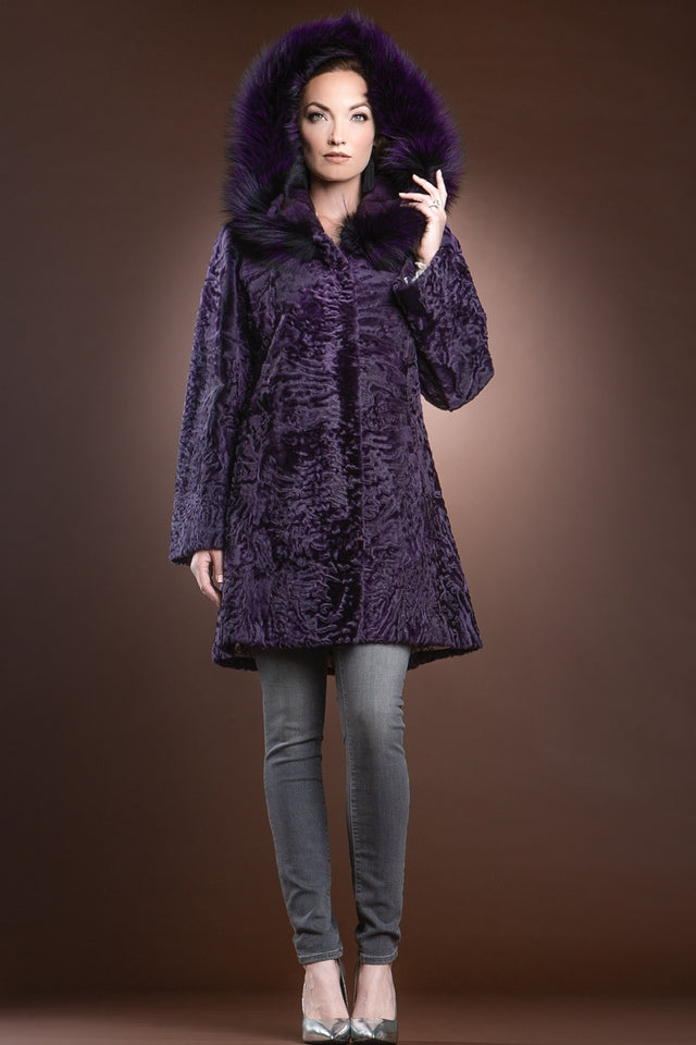 Hooded Purple Mid-Length Karakul Fur Coat - Purple Fox Trim