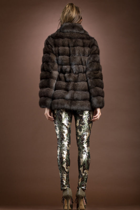 EM-EL Russian Horizontal Sable Fur Jacket