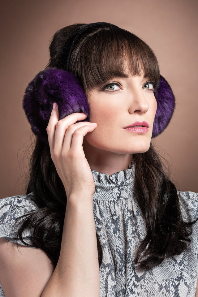 Purple Chinchilla Fur Earmuffs