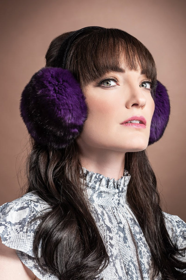 EM-EL Women's Purple Chinchilla Fur Earmuffs