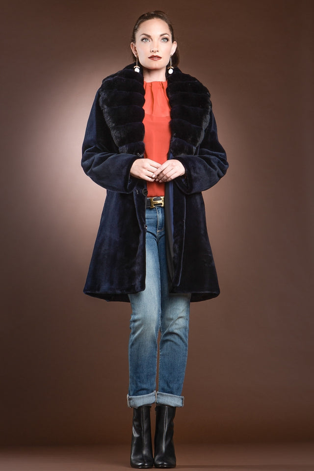 Reversible Fitted Sheared Mink Mid-Length Fur Coat - Chinchilla Shawl Collar