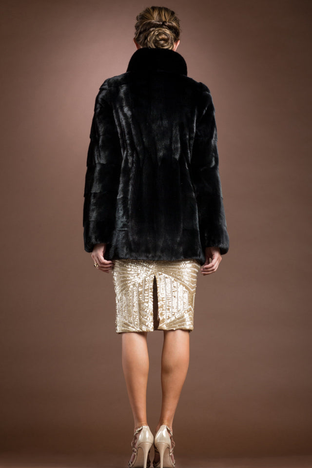 Chalue Horizontal Black Mink Mid-Length Fur Coat