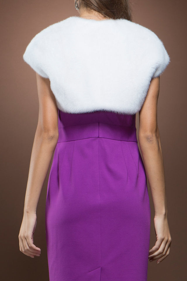 Mary McFadden White Mink Fur Shrug
