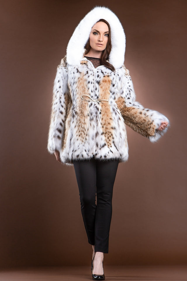 Hooded American Lynx and Fox Anorak Fur Jacket