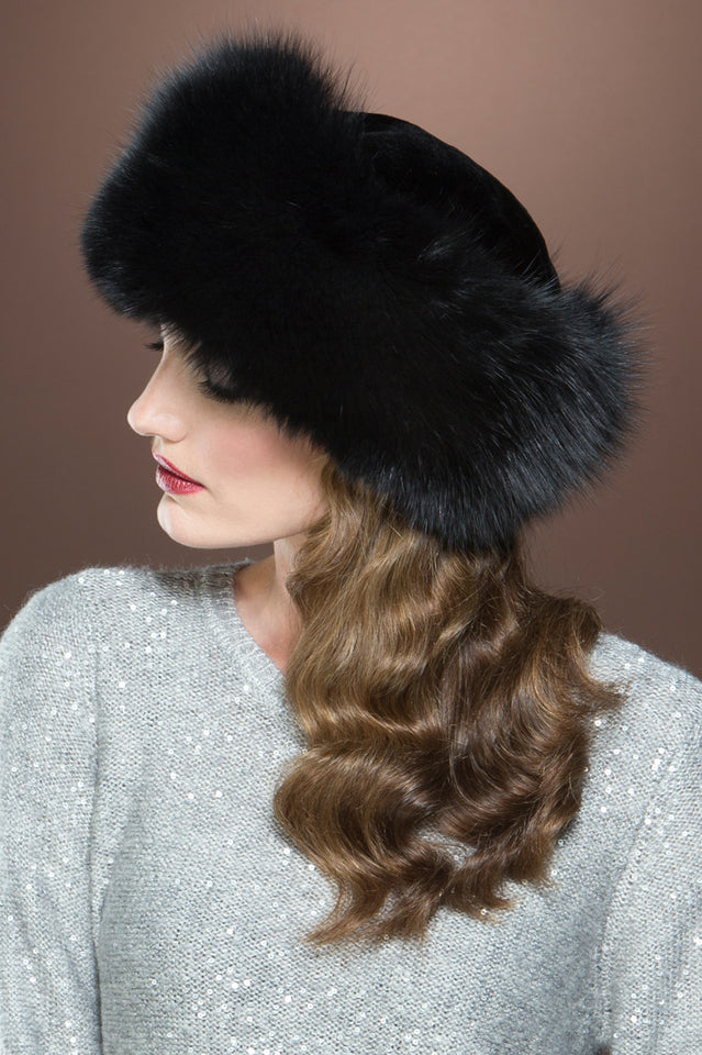 Lenore Marshall Sheared Mink and Fox Fur Hat