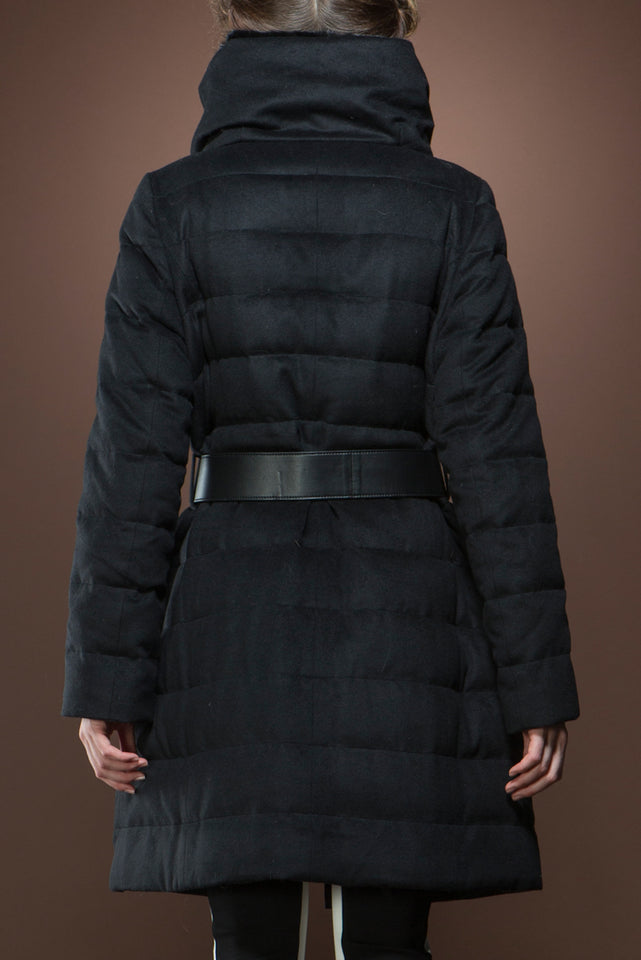 Black Mink and Down Quilted Mid-Length Cashmere Coat