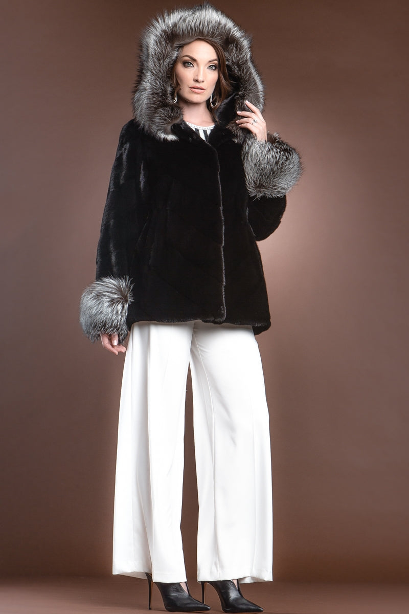 Black Chalue Hooded Directional Chevron Mink Fur Jacket - Fox Fur Hood Trim and Cuffs