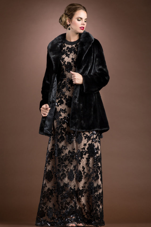 EM-EL Blackglama Mink Mid-Length Fur Coat-Shawl Collar