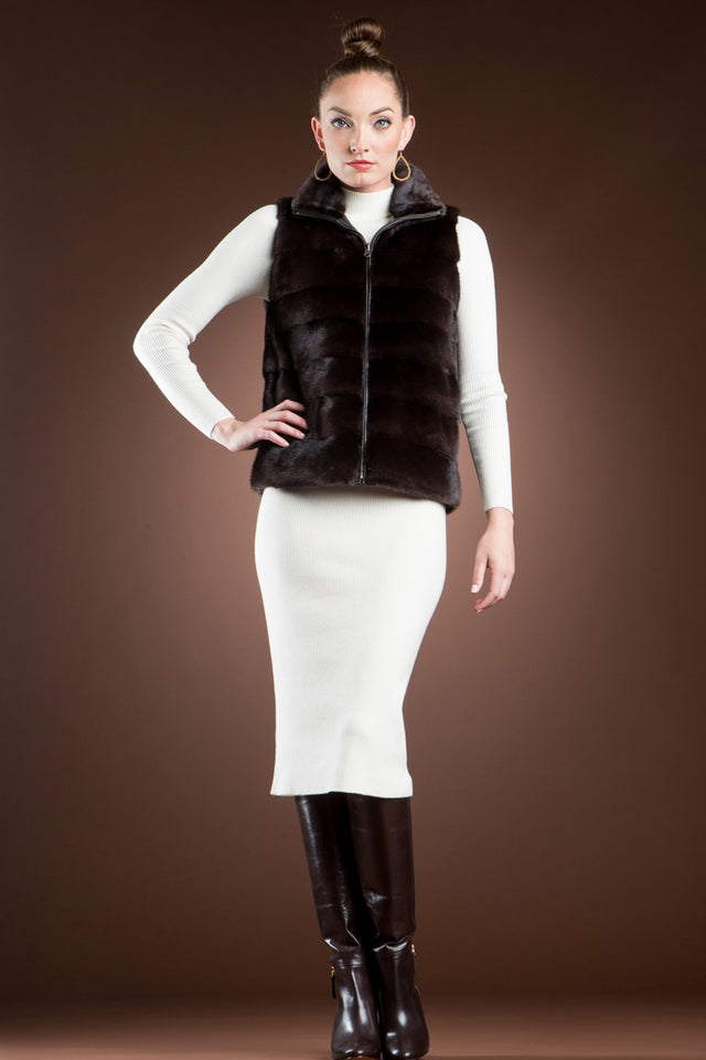 Reversible to Leather Chestnut Mink Fur Vest