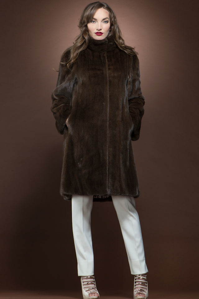 Chestnut Brown Mid-Length Fur Coat