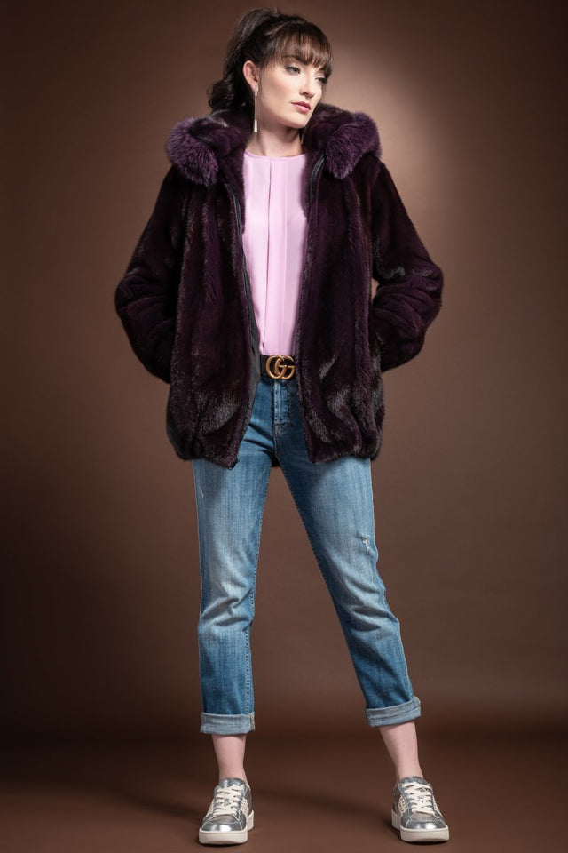 Hooded Ranch Mink Bomber and Fox Fur Jacket