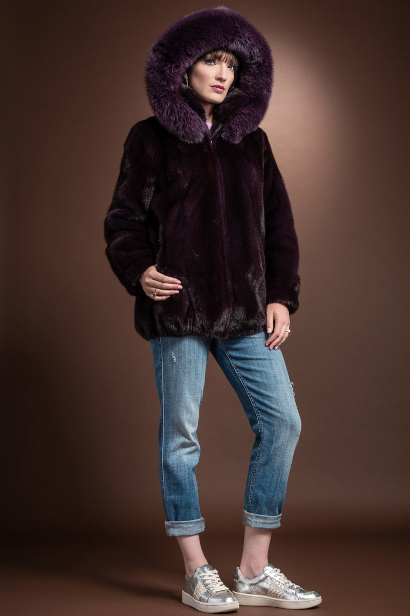 Purple Mary McFadden Detachable Hooded Mink Bomber and Fox Fur Jacket