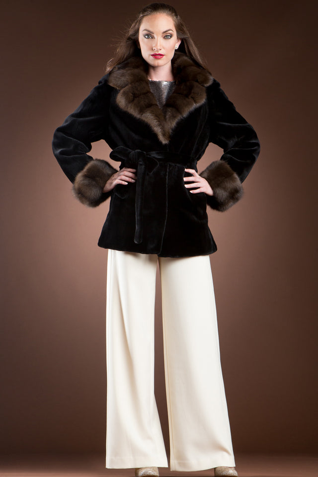 Black Sheared Mink and Sable Fur Jacket