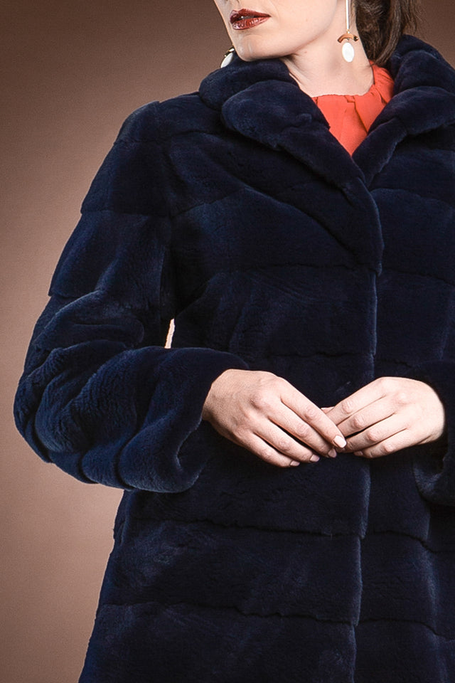 Majestic Blue Horizontal Plucked Mink Mid-Length Fur Coat