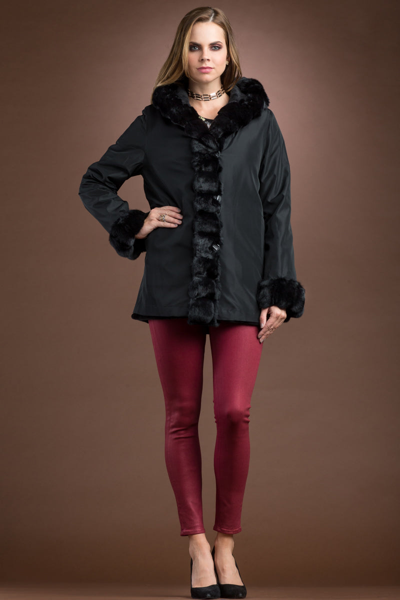 Black EM-EL Hooded Reversible Sheared Mink and Chinchilla Fur Jacket