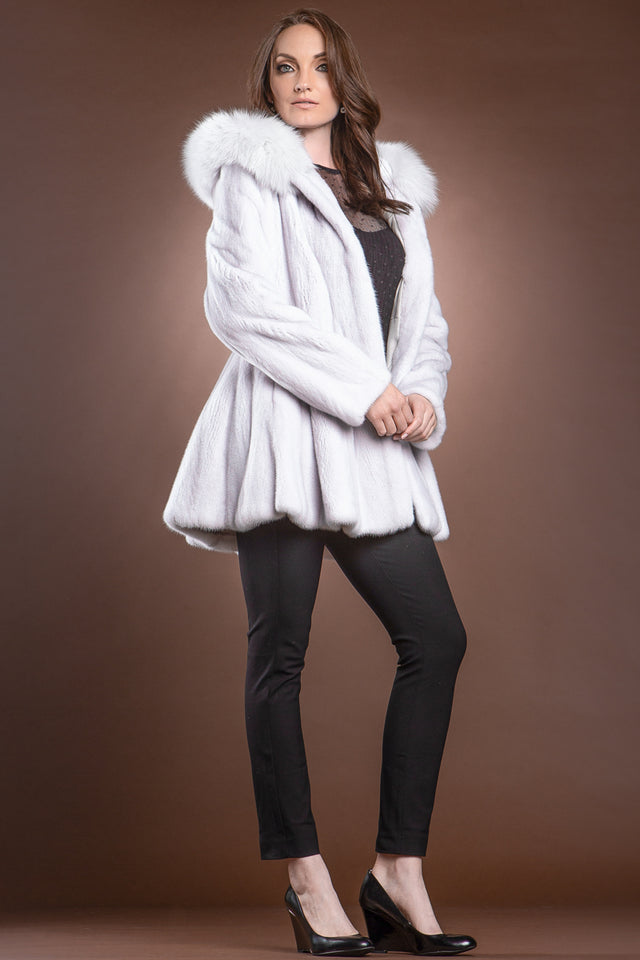 EM-EL Silver Lilac Mink and Fox Hooded Fur Jacket