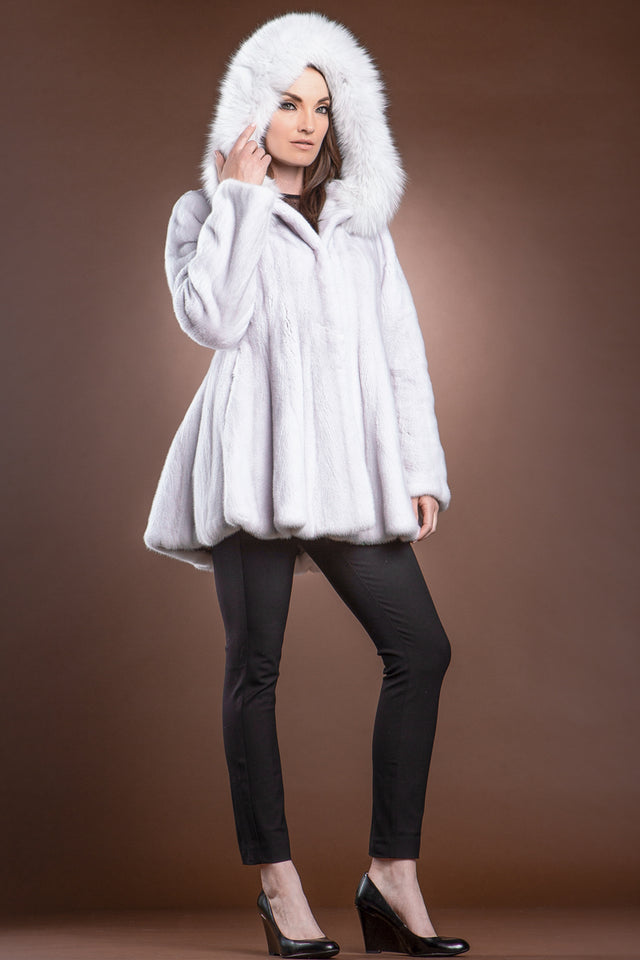 Silver Lilac Mink and Fox Hooded Fur Jacket
