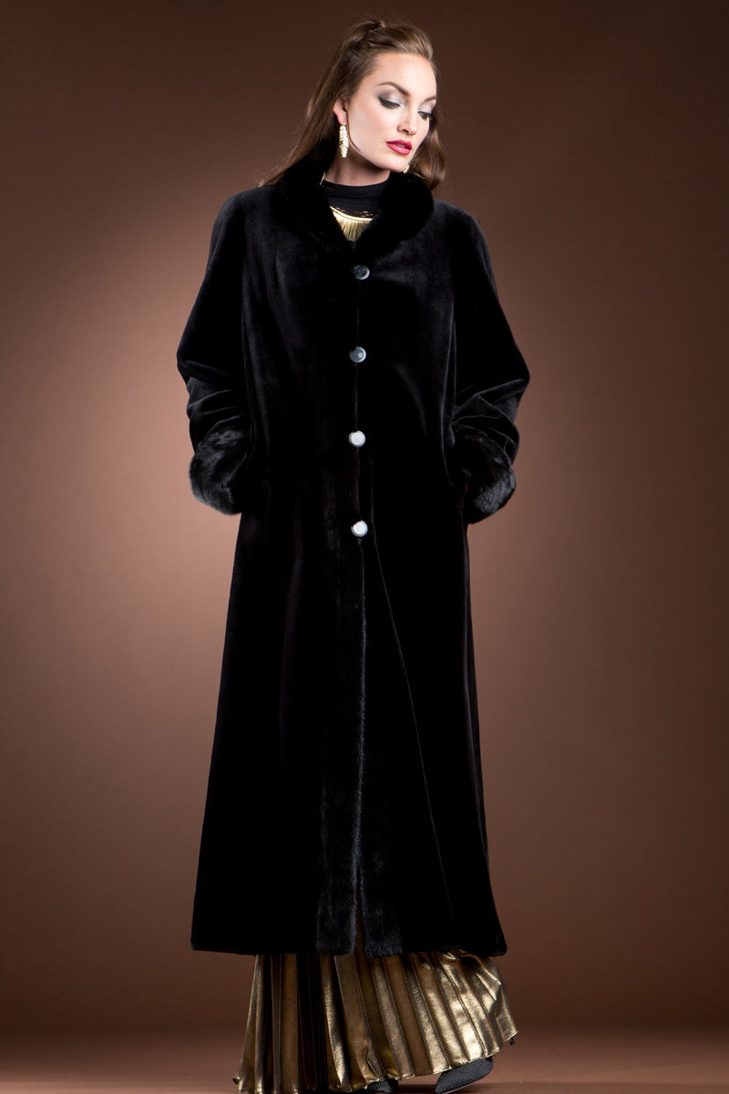 Black EM-EL Reversible Sheared and Long Haired Mink Fur Coat