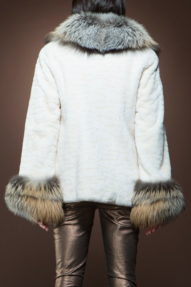 White EM-EL White Sheared Beaver and Fox Fur Jacket