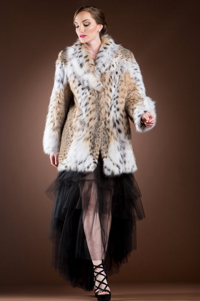 Anamoda Natural American Lynx Fur Jacket