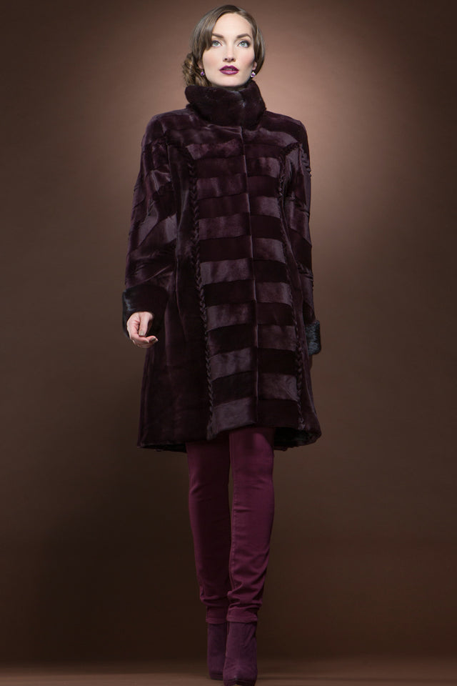 EM-EL Burgundy Sheared & Long Haired Mink Mid-Length Fur Coat