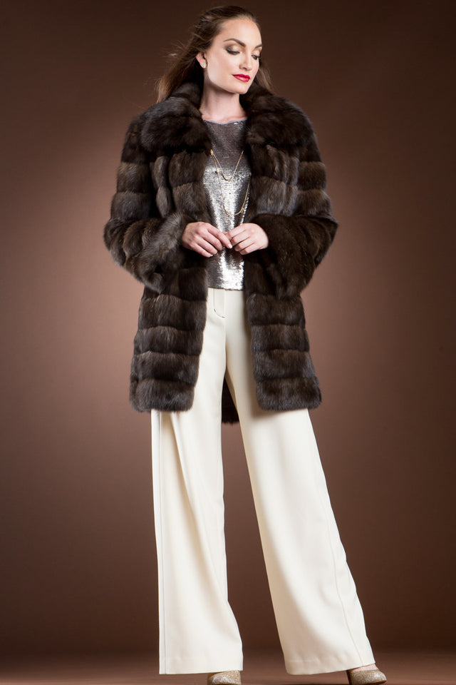 Horizontal Russian Sable Mid-Length Fur Coat