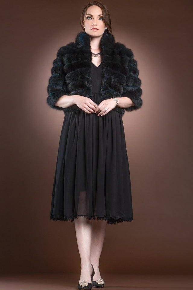 Teal Horizontal Sable Bolero Fur Jacket