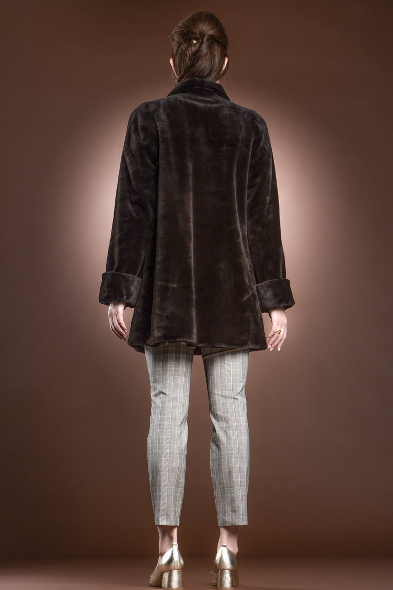 Brown EM-EL Reversible Sheared Mink Mid-Length Fur Coat - Wing Collar - TB Cuff