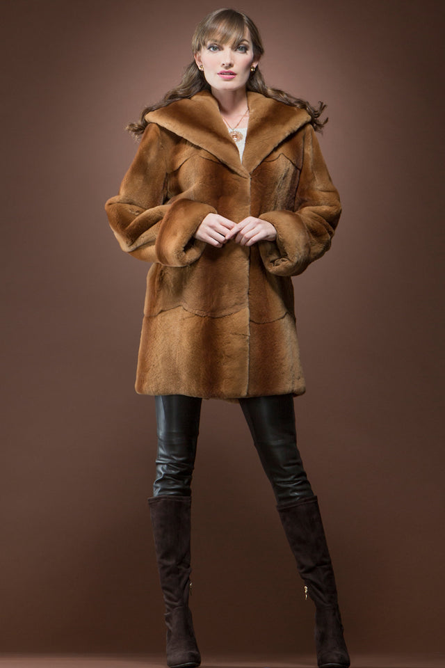 Hooded Plucked Mink Fur Jacket