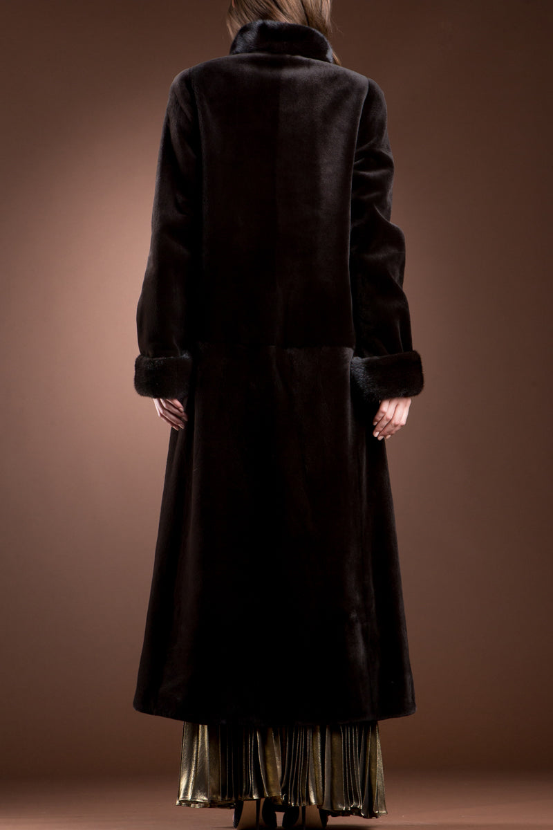 Brown EM-EL Reversible Sheared and Long Haired Mink Fur Coat