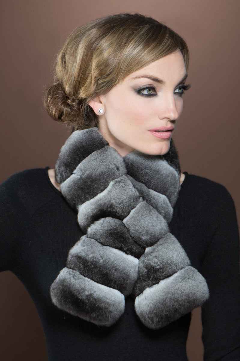 Gray EM-EL Horizontal Pull Through Chinchilla Fur Scarf