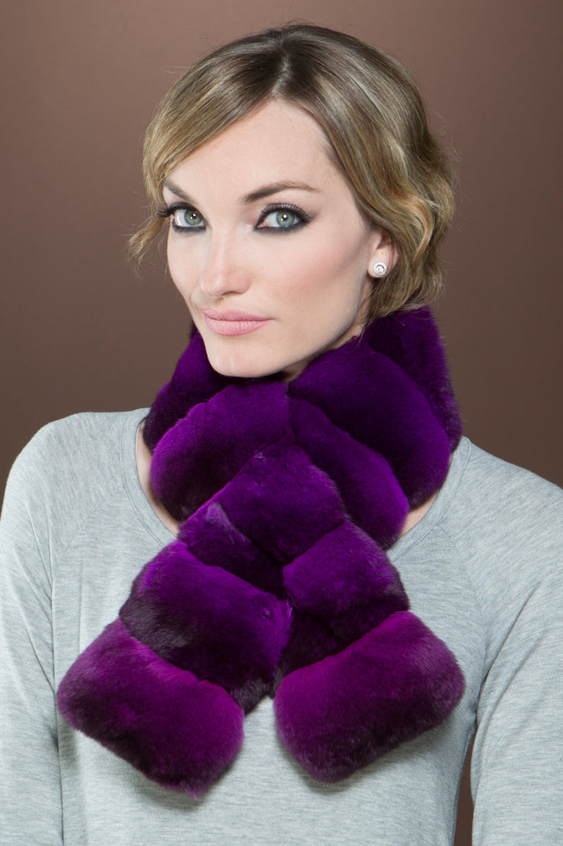 Purple EM-EL Horizontal Pull Through Chinchilla Fur Scarf
