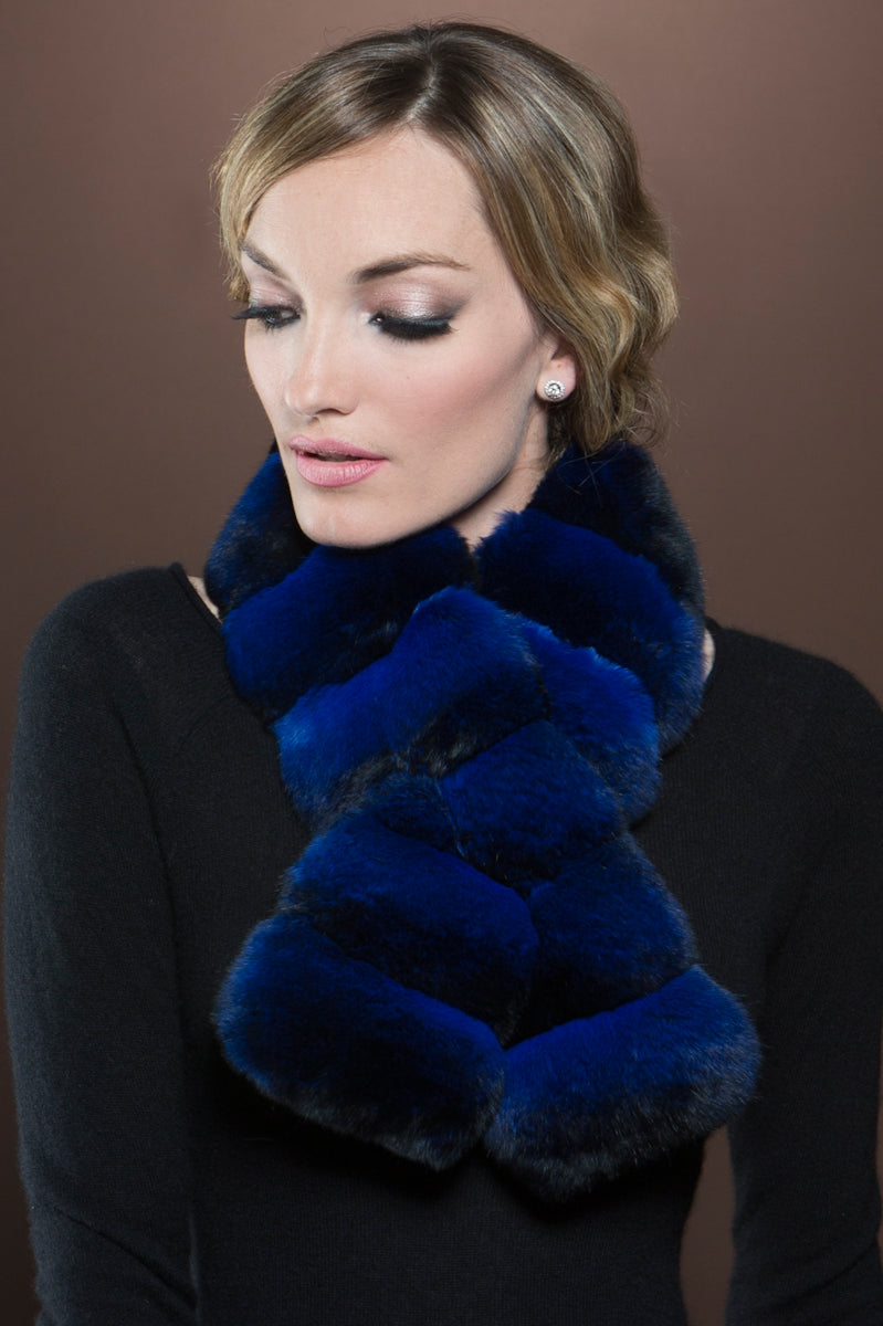 ElectricBlue EM-EL Horizontal Pull Through Chinchilla Fur Scarf