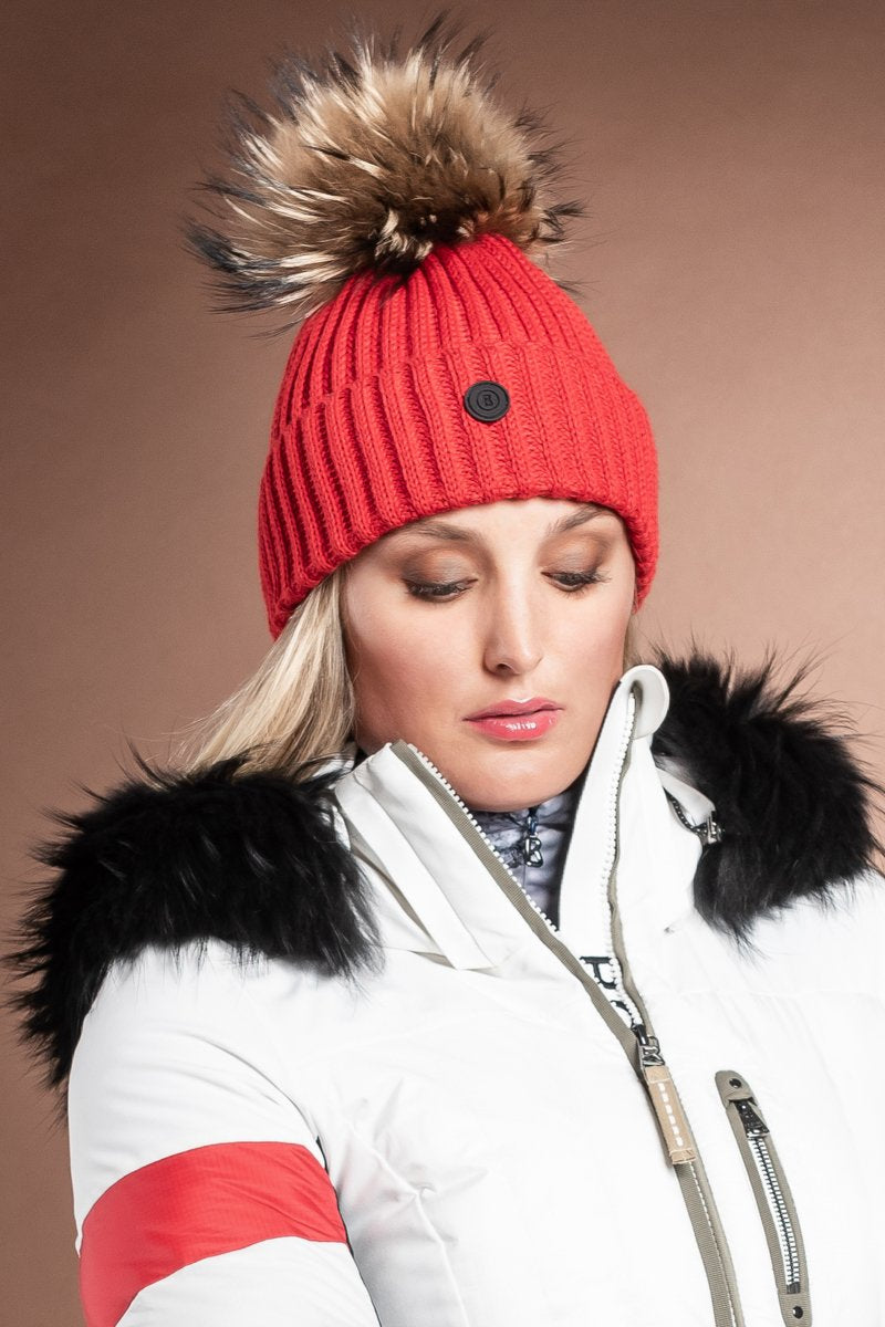 FireEngineRed Bogner Rania Wool Blend Pom Pom Ski Hat