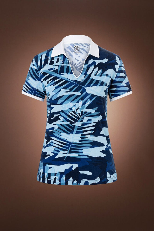 Lumi 2 Palm Print Golf Shirt - Sport Blue