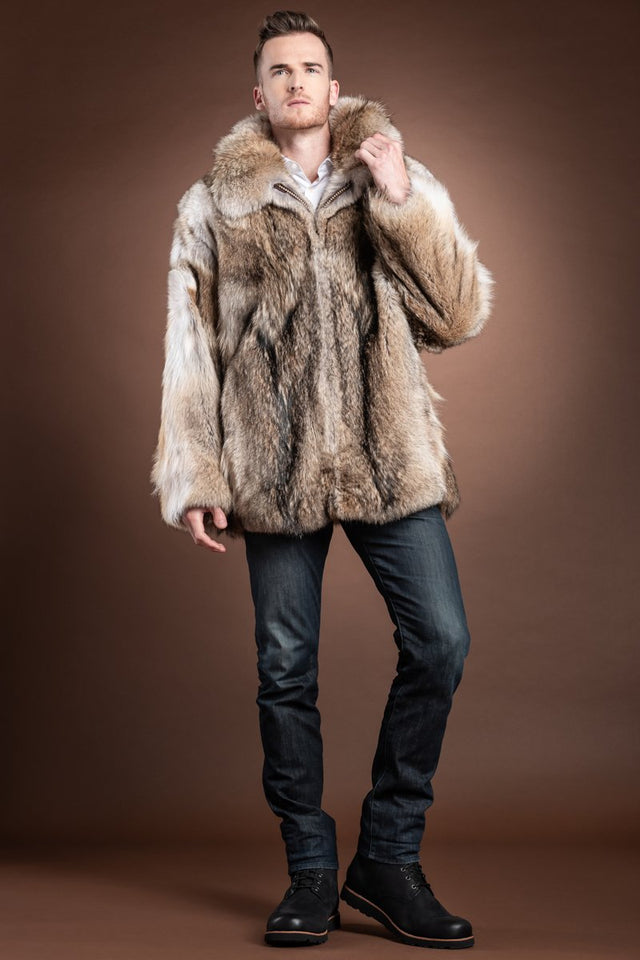 The Terri Men's Natural Coyote Fur Bomber Jacket