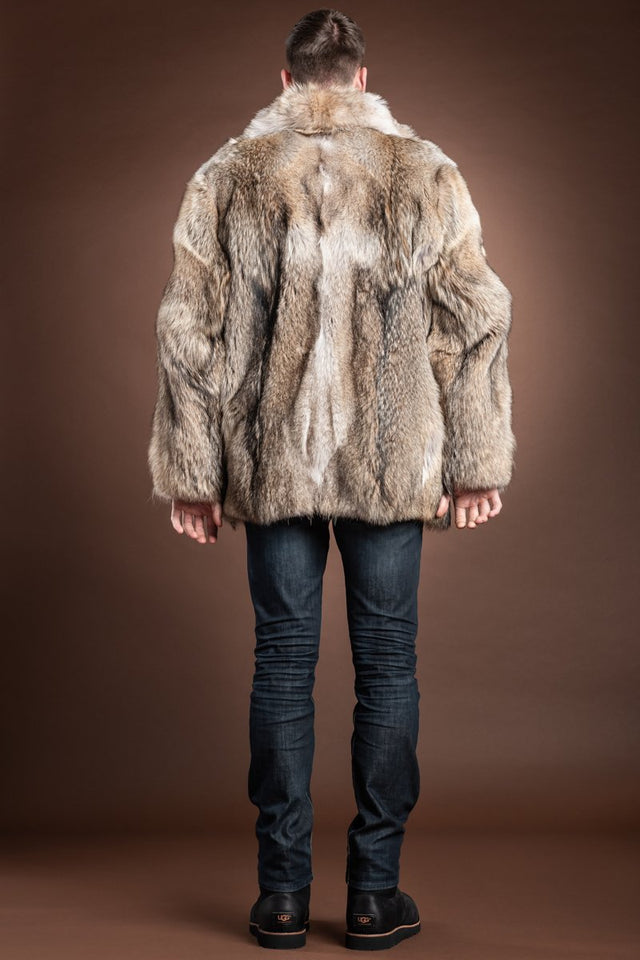 EM-EL The Terry Men's Natural Coyote Fur Bomber Jacket