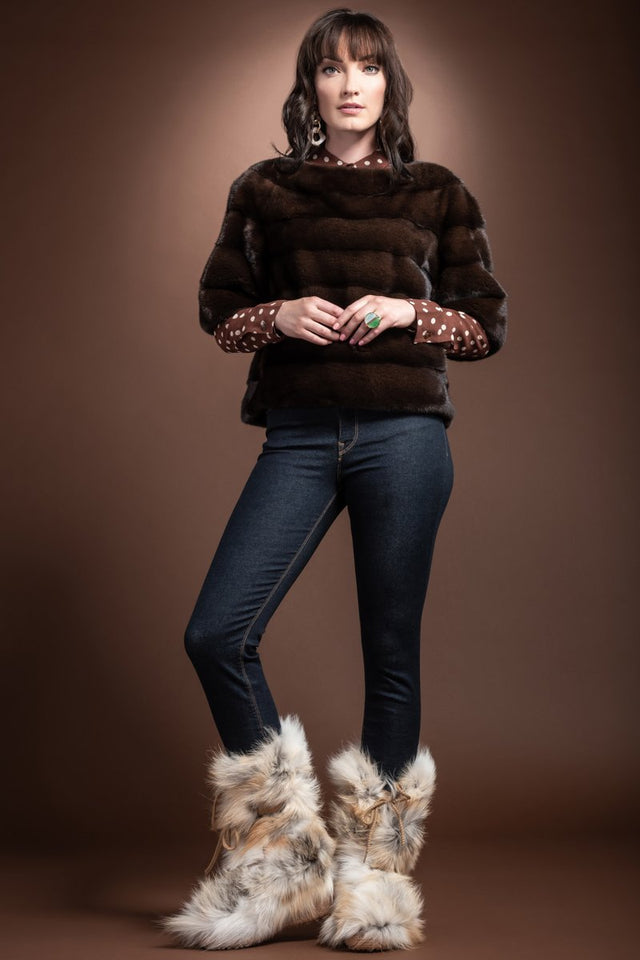 Gilda Fox Fur Boots - Gold