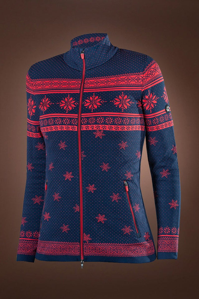 NavyBlue/Red Branas Mountain Lounge Iconic Norway Full Zip Sweater
