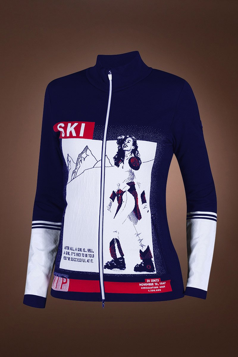 NavyBlue/White Innsbruck Mountain Lounge Amarcord Print Ski VIP Full Zip Sweater
