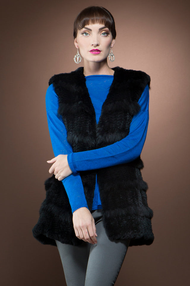 Rex Rabbit Fur Vest with Horizontal Fox Fringe