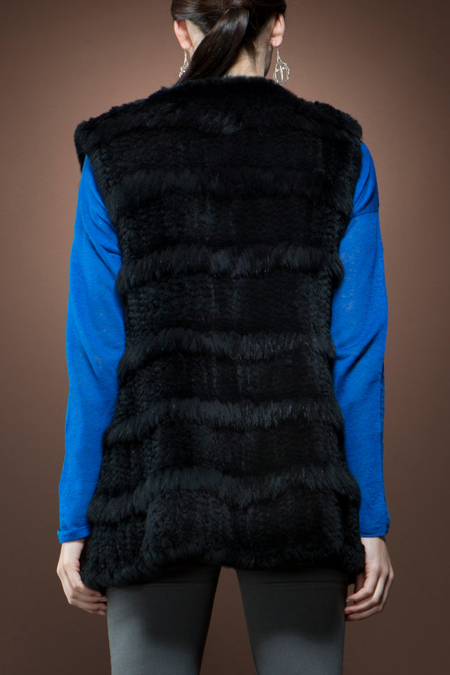 Glamourpuss NYC Rex Rabbit Fur Vest with Horizontal Fox Fringe