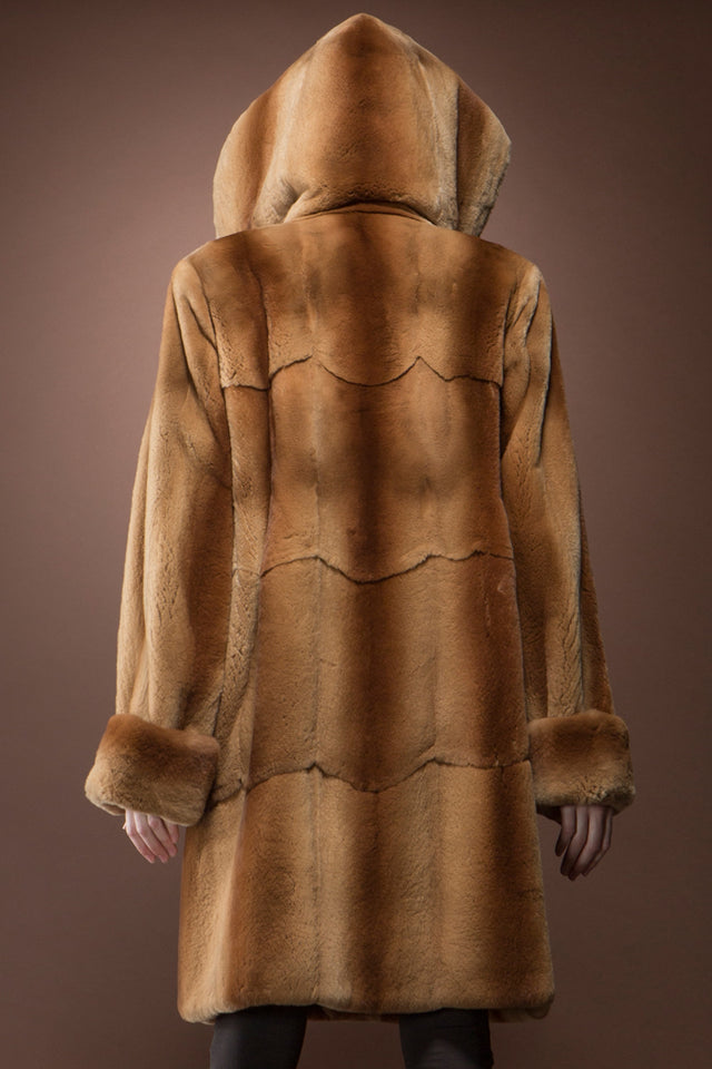 Hooded Plucked Mink Mid-Length Fur Coat