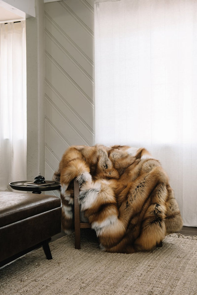 Red Fox Fur Throw