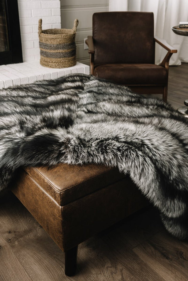 Pologeorgis Silver Fox Fur Throw