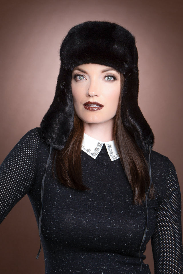 Natural Ranch Mink Trapper Fur Hat