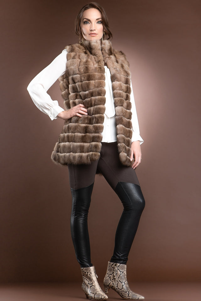 EM-EL Sable Patchwork Fur Vest - Stand-Up Collar